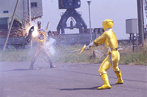 Yellow Ranger facing off with Motorcycle Org