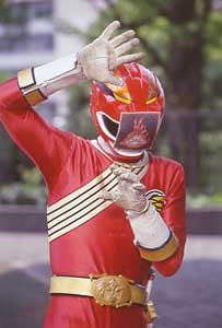 Red Ranger with fire card on his visor