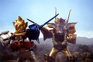 Animus Megazord duels the Wild Force Megazord